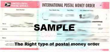 The right type of postal money order